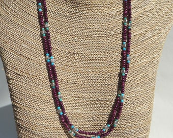 Plum Spiny Oyster Turquoise and Silver Necklace