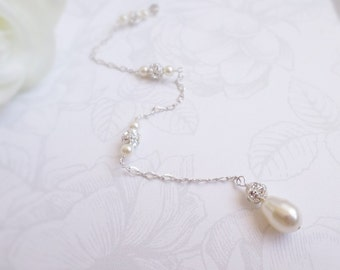 FREE US Ship Removable Bridal Necklace Backdrop Pearl And Rhinestone Bridal Necklace Backdrop Sterling Silver Pearl Removable Backdrop