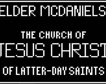 Customizable LDS Missionary Tag (Elder) Cross Stitch Pattern