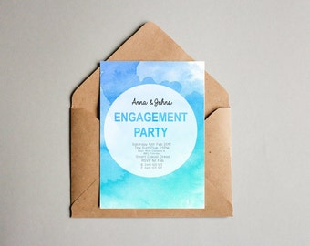 Watercolour Blue Engagement Invitation
