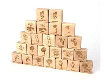 Flower Garden Matching Game 24 pc Maple Blocks