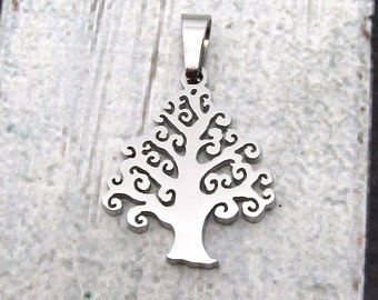 Tree of Life Pendant, Stainless Steel Pendant SST Findings 25x21x2.5mm Small Tree Charm Family Tree Pendant  Tree Pendant SST (082)