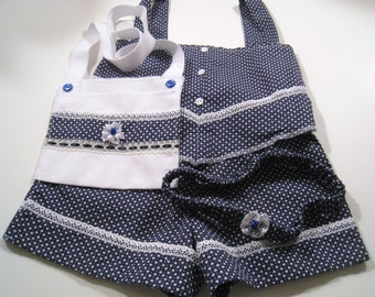 Navy Shorts Toddler 4 piece outfit. Includes shorts, top, head band and a cute purse. girls shorts set, girls clothing, girls top, shorts an