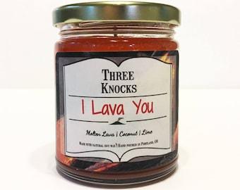 I Lava You - Three Knocks Candles - Fandom Candle - Scented Soy Candle - 8 oz Jar