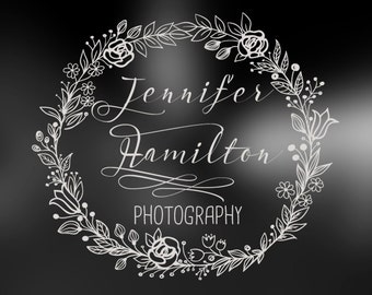 Photography Logo - hand drawn logo - wreath logo - floral logo -for boutique - Small Business - watermark logo -Premade Photography Logo