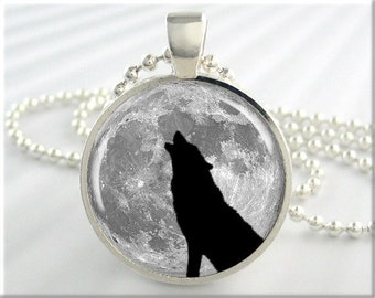Howling Wolf Pendant, Resin Charm, Wolf Moon Necklace, Resin Jewelry, Barking At The Moon, Round Silver, Gift Under 20, Animal Lover 197RS