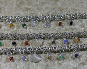 Chainmaille Charm and Gemstone Bracelets