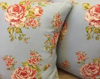 Custom made Blue Flora Rose Flower Cushion Pillow