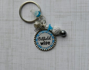 Oilfield Wife.....Oilfield Man Bottlecap Key Chain