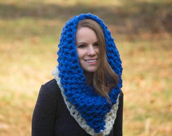 Blue and Cream Colorblock Cowl, Oversized Crochet Cowl, Sky Blue Neck Warmer