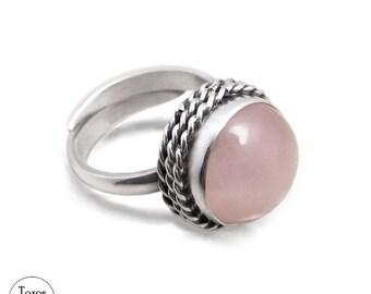 Ring with pink quartz - classy ring, quartz ring, pink quartz, elegant ring, fantasy ring, any size