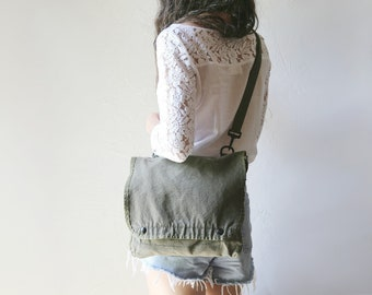Vintage Military Canvas Satchel // Adjustable Crossbody, Pouch, Clutch