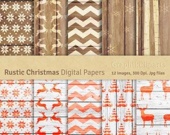 Rustic Christmas Digital Papers. Wood Digital Papers. Christmas Digital Papers. 10 images, 300 Dpi. Jpg files. Instant Download.