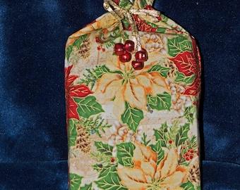 poinsettia gift bag, gift wrap, santa sack, Christmas wrapping, handmade