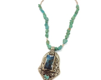 Stellar Temple necklace - flahsy blue labradorite set in an elaborate handmade Nepali pendant with raw Morenci turquoise