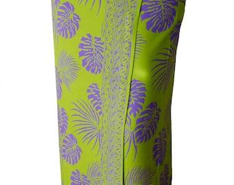 Men's Beach Sarong Pareo - Lime Green & Purple Hawaiian Jungle Leaf - Batik Sarong Beach Cover Up or Women's Beach Sarong Wrap Skirt
