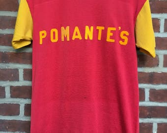 50s 60s Durack althetic shirt nylon jersey red yellow pomante's t shirt