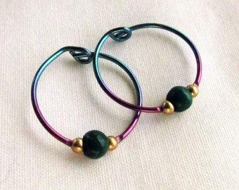 Tiny Titanium Hoops, Vintage Hypo-Allergenic Beaded Hoops, Rainbow Colors Pink, Purple, Teal, Anodized Titanium Earrings