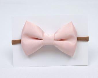Blush Pink Satin Hair Bow