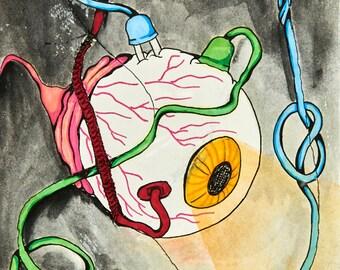 Original Drawing Color Wash Eyeball Cords & Stitches 8.5 x 11 Print