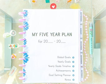 Goals Planner for Big Happy Planner Printable inserts Health Relationship Business Self development Five Years Planner 2018 Instant download