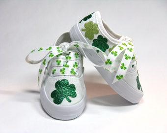 Shamrock Shoes, St. Patrick's Day Sneakers, Irish Clovers Outfit, Baby and Toddler, Hand Painted