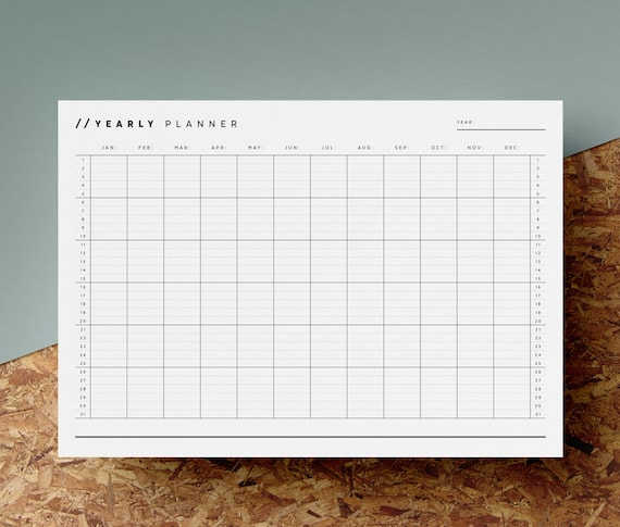 open dated yearly planner printable any year calendar 12