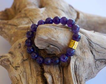 Amethyst bracelet - purple bracelet - gemstone jewelry