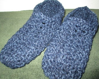 Adult Blue Slippers Crocheted by SuzannesStitches, Mens Blue Slippers, Crocheted Slippers, Handmade Slippers, House Slippers, Womens Slipper