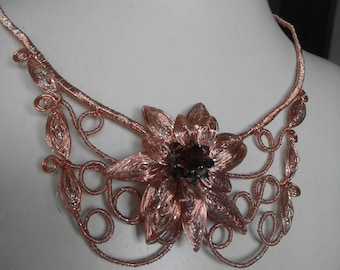 Flower necklace. With Swaroski