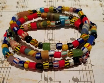 African Bead Bracelets, set of 3