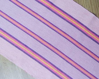 Well done vintage 1970s handmade handwoven linen table-cloth runner with pink, lilac/ yellow color stripe pattern on light pink bottomcolor