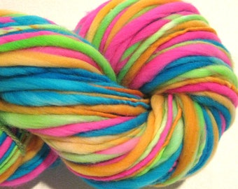 Super Bulky Handspun Yarn Electric Easter Egg 102 yards hand dyed merino pink green blue orange doll hair knitting supplies crochet supplies