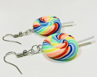 Lollipop Candy Earrings, Rainbow Lollipop, Candy Earrings/Mix color