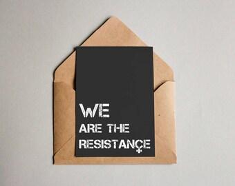 Resistance Postcards | feminist postcards, women's rights, black postcards, activism print, stationery, political quote, typography design
