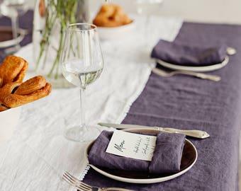 Purple charcoal linen napkins. Set of 4, 6, 8, 10 cloth napkins. Handmade, stone washed linen napkins.