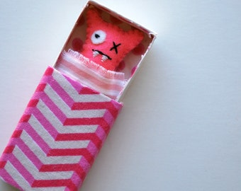 Pink Matchbox Monster with play accessories - - Miniature - Travel Toy - Play Set - Baby Monster - Bed - Stuffed Toy - Plush - Kawaii