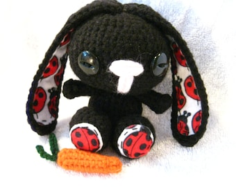 Crochet Easter Bunny Black or White with Pink Polka Dots Free Shipping Small Toy Stuffed Animal Easter Present or Birthday Gift