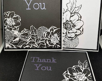 Thank you cards- Set of 5- black and white