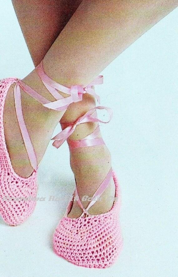 Vintage Crochet Pattern Ballet Slippers House Slippers