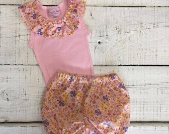 Heaven Sent Handmade baby girl pink singlet shorts shorties set gift ruffle neck flower floral size 000