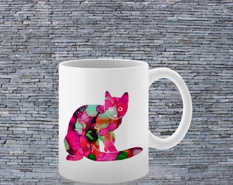 Red Cat Mug - Tea Mug - Coffee Mug - Printed Mug