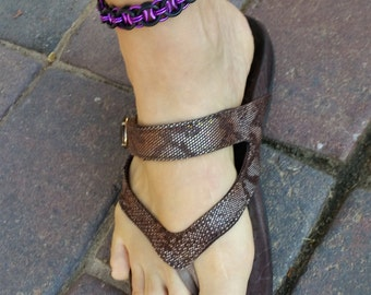 Black Rubber Chainmaille Ankle Bracelet