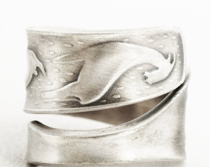 Norwegian Goat Ring, Norway 830 Sterling Silver Spoon Ring, Aniaml Norwegian Jewelry, Whimsical Nordic Ring, Adjustable Ring Size (7059)