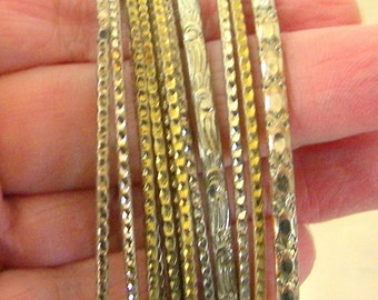 Set of 12 Bangles, Gold Tone, Silver Tone Metals, Vintage Items, Boho Wardrobe, Accessories