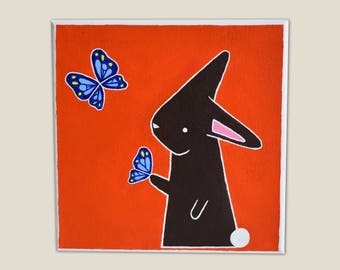 Bunny playing with Butterflies Canvas Painting