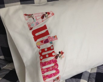 Personalized Pillowcase Name Pillow - Minnie Mouse Fabrics - Home Decor- Slumber Party - Camp - College - Travel