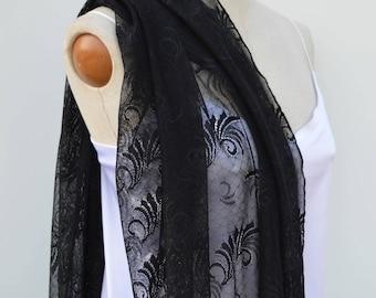 Black Lace, lace evening shawl stole black, shoulder warmer lace black women evening stole black, Black Lace, shawl woman cocktail