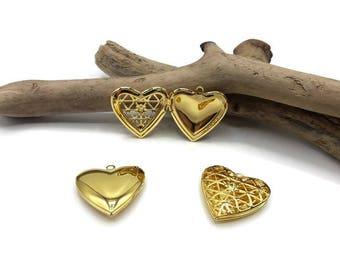 Heart Locket necklace - Medallion door Photo - gold - tone heart A113-3