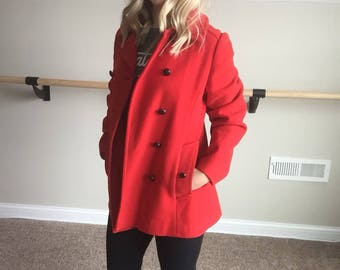 Vintage Red 100% Wool Mackintosh Peacoat // Made in USA